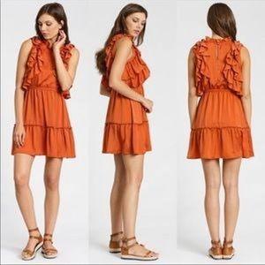 dRA California ruffle dress burnt orange